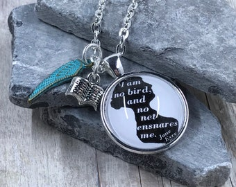 Jane Eyre - Quote - Necklace - Charlotte Brontë - Book - Literary - Silhouette - Cameo - Gift -  Reader - Writer