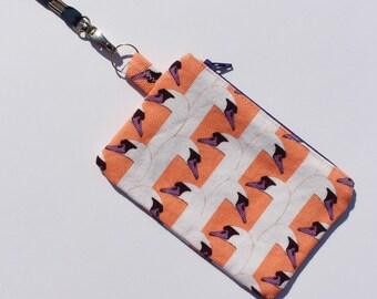 SWAN HEAD coin purse - apricot & purple