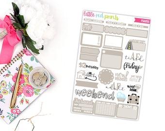 Greige Functional Sampler Number 2, Planner Stickers for the Erin Condren Life Planner, Sampler Sheet - [FS0055]