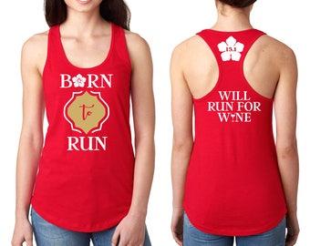 Elena Running Tank Shirt Front, Back - Born to Run, Avalor Design - Flower, 13.1, 26.2, Will Run For Wine - Red, White, Gold