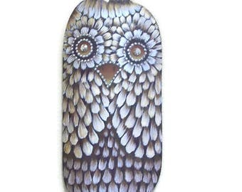 Hootie Owl With Bling | Tole Painted Owl on Pumpkin Shaped Barrel Stave
