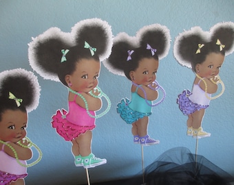 African American Centerpiece(1)Dark skin tone girl party,Baby shower centerpiece,Girl centerpiece,Ethnic girl party