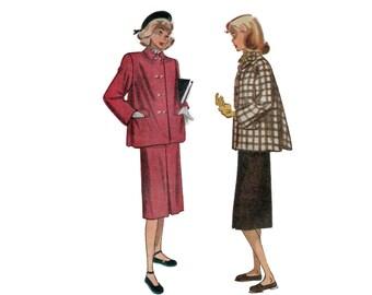 50s Coat pattern Pencil Skirt pattern vintage 34-28-37 Box Pleats Swing Coat pattern simplicity 2150
