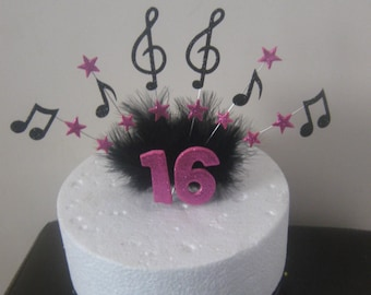 Music note cake topper, with your choice of colour and age