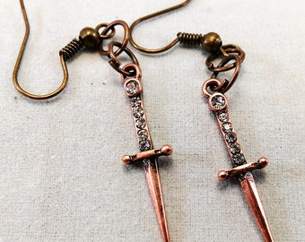 Dagger Earrings Copper - Goth Jewelry Wicca Athame