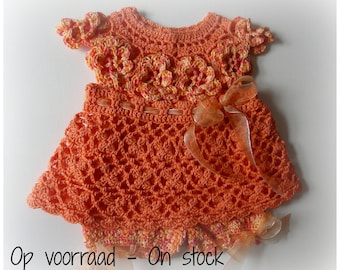 Crocheted Baby Set Dress + Pants Sunny Flowers