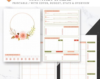 Monthly Log Printable, Bullet Journal Insert, Monthly Overview, MO2P, Monthly Spread, Undated Bullet Journal, Printable Bujo, Monthly Budget