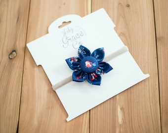 Dark Blue Flower Bow Headband Hair Accessories Nylon Headband Clips Piggie Clips pigtails