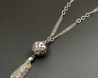 Antique Silver Ball Necklace