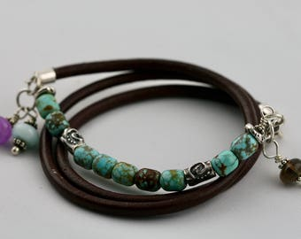 Natural Turquoise Bracelet, Mine 8 Turquoise, Sterling Silver Leather Multi-Wrap Bracelet, Boho Bracelet, Artisan Bracelet,Stacking Bracelet