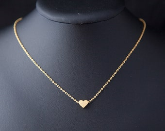 Tiny Heart Necklace, Hearth Necklace, Minimalist Necklace, Gold Necklace, Tiny Jewelry, Minimalist Jewelry, Dainty Heart Necklace, Boho Gift