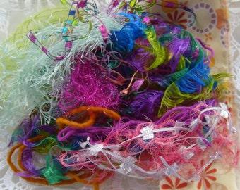 20 yds. Tutti Frutti fiber art yarn bundle/ embellishment trim/fiberart trim + 3 buttons/novelty yarn/scrapbook/junk journal/weaving/collage