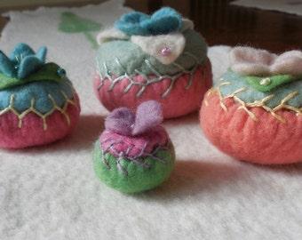 pincushion / hand embroidered / merino felt pincushion / size small A / green, pink, purple