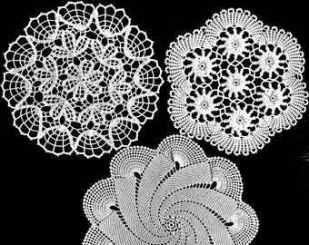 Vintage white doilies, lot of 3 doilies, crochet white doilies, dreamcatcher supplies, vintage crochet doilies, vintage home decor.