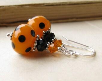 Halloween Sterling silver lampwork earrings black orange