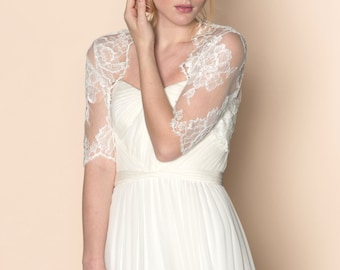 Roseline Bridal French Lace Tulle Bolero Cover Up Shrug In Pale Ivory Off-White