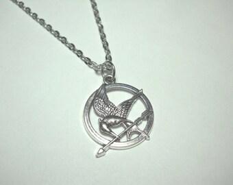 Mocking Bird Pendant, Antique Silver Tone, Men's Necklace, Women's Necklace, Antique Silver Tone Chain