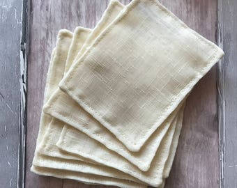 BULK BUY - Cleanser Pads - Unbleached Organic Cotton Muslin - Organic - Face Cloth - Eco - Cleansing