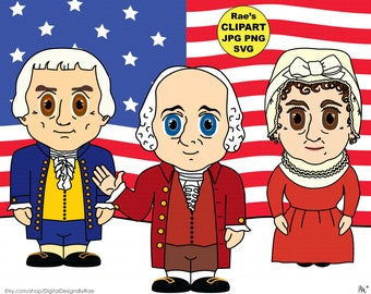 President John Adams Clipart Set with Thomas Jefferson and Abigail Adams
