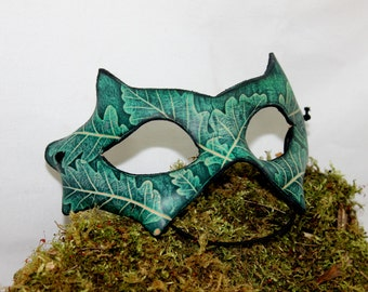 Leather mask with leaf embossing, handmade