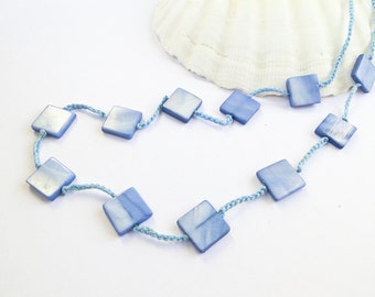 Unique Blue Crochet Necklace, Antiallergic Necklace, Unique gift for her, Birthday gift, Bridesmaid Necklace,Mother's Day gift / Sandycraft