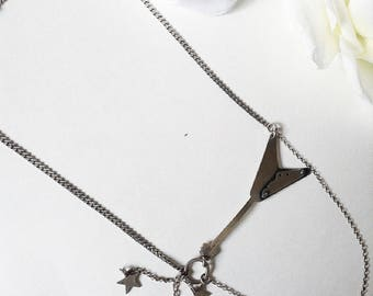 Guitar Necklace, For Her, Sterling Silver Guitar Necklace, Sterling Silver Necklace, Vintage Sterling Silver Jewelry,  Silver Guitar Pendant