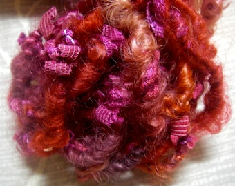 Handspun Corespun Bulky Leicester Longwool Art Yarn in Bright Pink Red Raspberry Purple by KnoxFarmFiber for Knit Weave Embellishment