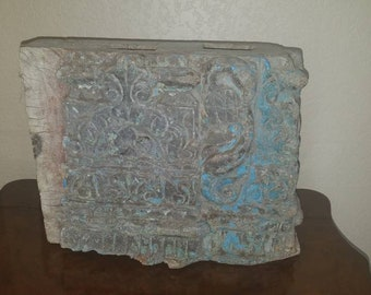 19Th Century Architectural Salvage Hand Carved Wood Moulding Block from India!