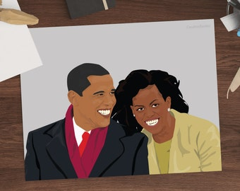 Barack and Michelle Obama Illustration