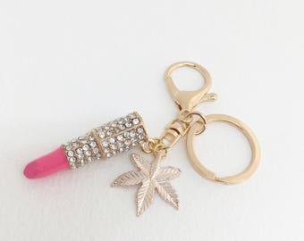 rose gold keychain lipstick keychain,stocking stuffer,Marijuana keychain,weed,cell phone charm, girly,key tag,key ring,cannabis,LIPSTICK