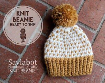 hand knit beanie - 12 Month gold fair isle - baby beanie - with pom pom - chunky knit - ready to ship