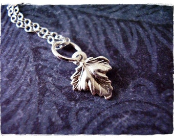 Tiny Oak Leaf Necklace - Sterling Silver Oak Leaf Charm on a Delicate Sterling Silver Cable Chain or Charm Only