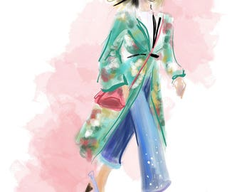 Street Style no. 03  Art Print Fashion Illustration, Fashion Sketch, Fashion Art, Watercolour Illustration