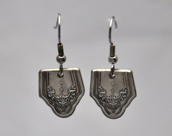 Earrings made from Vintage Silverware with Ornate Pattern