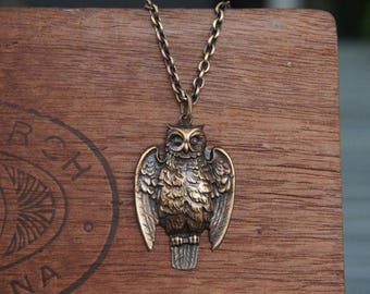 Antique Style Art Nouveau French Owl Necklace French Brass Stamping
