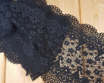 Black 21 cm wide Crochet Look Stretch lace by the meter