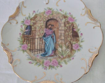 """Jesus Knocking at Door 8"""" Vintage Collector Plate Scalloped Edge Gold Trim"""