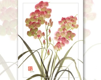 "Watercolor Chinese Brush Painting Cards  ""Orchids"""