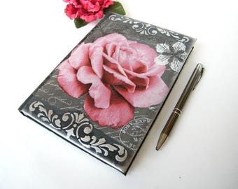 Agenda 2018, A5 business floral planner, handmade, daily diary 2018, notebook, vintage rose, multilingual calendar, OOAK coworker gift