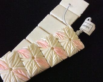 Vintage Japanese Floral Carved Bone Tabular Beads
