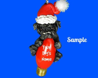 Black Brindle English Bulldog Christmas Holidays Light Bulb Ornament Sally's Bits of Clay PERSONALIZED FREE with dog's name