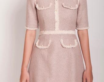 Tweet dress/, grey pink  tweet dress,/ summer dress/. midi dress/ work dress/