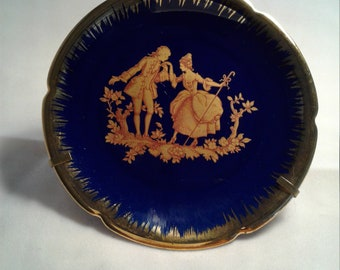 Limoges France Castel Blue and Gold Small Plate with Hanger 4""