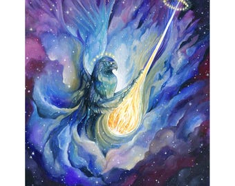 ORIGINAL Watercolor - Ace of Swords - 78 Astral Tarot Project Painting - Space Eagle Nebula