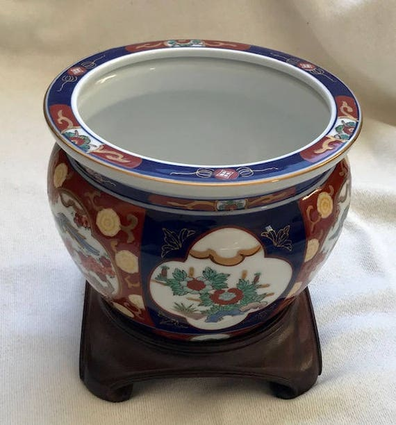 original vintage japanese gold imarl hand painted cache pot. Black Bedroom Furniture Sets. Home Design Ideas