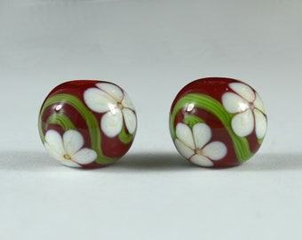 Red with Ivory Flowers  - Matching Pair of Lampwork Beads handmade by DKS Lampwork