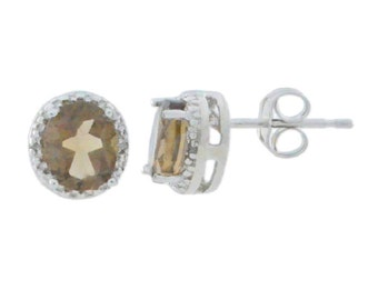 Smoky Quartz & Diamond Round Stud Earrings .925 Sterling Silver
