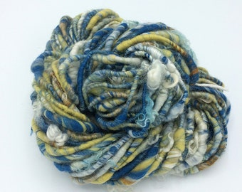 "Handspun Art Yarn, ""Sapphire and Topaz"", 38 yards, corespun textured art yarn, bulky yarn, weaving yarn"