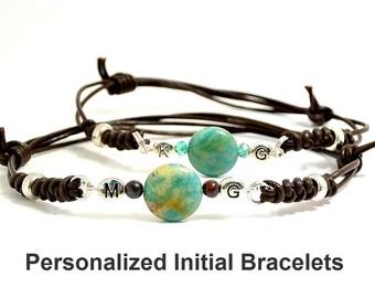 Personalized jewelry, Couple bracelets, Initial Bracelets, Green Agate, Leather bracelets, Yoga bracelet, heal stone jewelry, Valentine gift