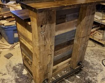 Rustic Bar, Country Bartender, Repurposed Industrial Bar, Reclaimed Mini Bar, Upcycled Barn Timber